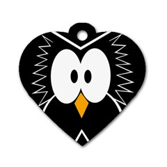 Black owl Dog Tag Heart (Two Sides)