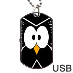 Black owl Dog Tag USB Flash (One Side)
