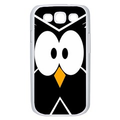 Black owl Samsung Galaxy S III Case (White)
