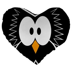Black owl Large 19  Premium Heart Shape Cushions
