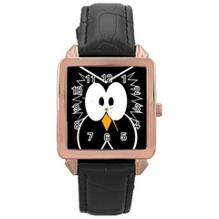 Black owl Rose Gold Leather Watch