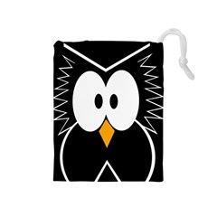 Black owl Drawstring Pouches (Medium)