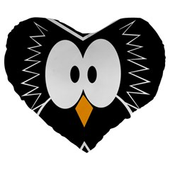 Black owl Large 19  Premium Flano Heart Shape Cushions
