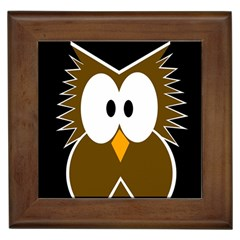 Brown simple owl Framed Tiles