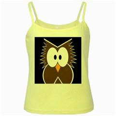 Brown simple owl Yellow Spaghetti Tank