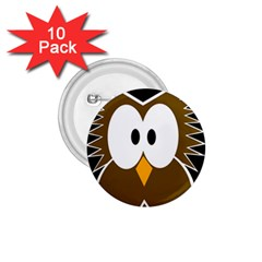 Brown simple owl 1.75  Buttons (10 pack)