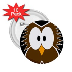 Brown simple owl 2.25  Buttons (10 pack)