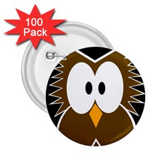 Brown simple owl 2.25  Buttons (100 pack)
