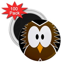 Brown simple owl 2.25  Magnets (100 pack)