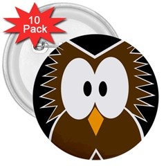 Brown simple owl 3  Buttons (10 pack)