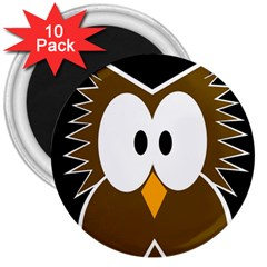 Brown simple owl 3  Magnets (10 pack)