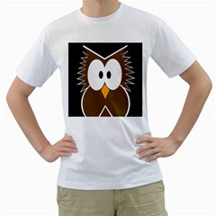 Brown simple owl Men s T-Shirt (White) (Two Sided)