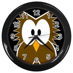 Brown simple owl Wall Clocks (Black)