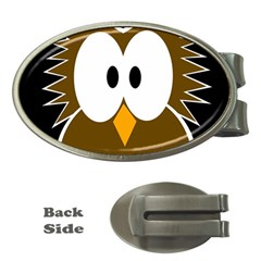 Brown Simple Owl Money Clips (oval)