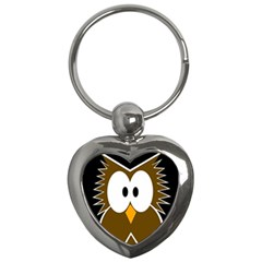 Brown simple owl Key Chains (Heart)