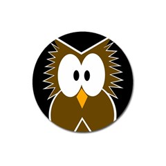 Brown simple owl Magnet 3  (Round)