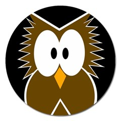 Brown simple owl Magnet 5  (Round)