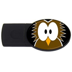 Brown simple owl USB Flash Drive Oval (2 GB)