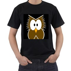 Brown simple owl Men s T-Shirt (Black) (Two Sided)