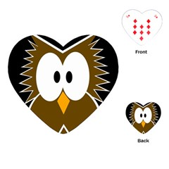 Brown simple owl Playing Cards (Heart)