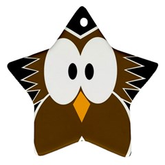Brown simple owl Star Ornament (Two Sides)