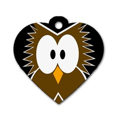 Brown simple owl Dog Tag Heart (One Side)