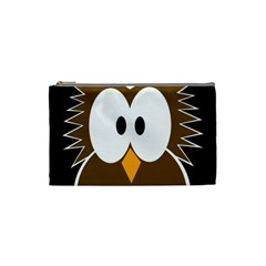 Brown simple owl Cosmetic Bag (Small)