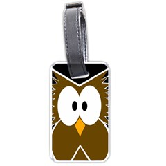 Brown simple owl Luggage Tags (One Side)