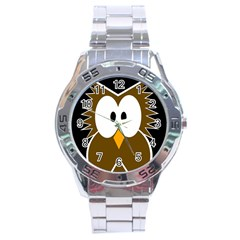Brown simple owl Stainless Steel Analogue Watch