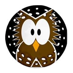 Brown simple owl Round Filigree Ornament (2Side)