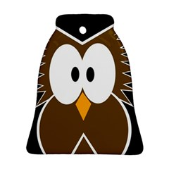 Brown simple owl Bell Ornament (2 Sides)