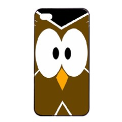 Brown simple owl Apple iPhone 4/4s Seamless Case (Black)