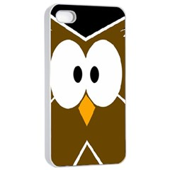Brown simple owl Apple iPhone 4/4s Seamless Case (White)