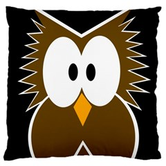 Brown simple owl Large Cushion Case (One Side)