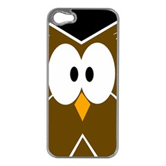 Brown simple owl Apple iPhone 5 Case (Silver)