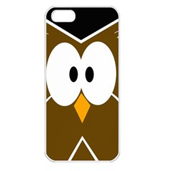 Brown simple owl Apple iPhone 5 Seamless Case (White)