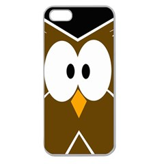 Brown simple owl Apple Seamless iPhone 5 Case (Clear)