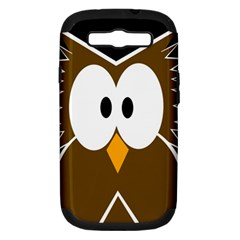 Brown simple owl Samsung Galaxy S III Hardshell Case (PC+Silicone)