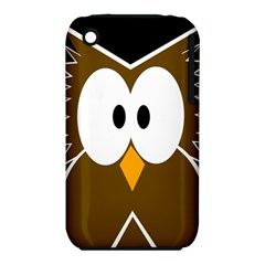 Brown simple owl Apple iPhone 3G/3GS Hardshell Case (PC+Silicone)