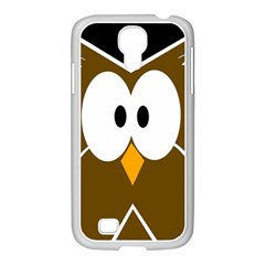 Brown simple owl Samsung GALAXY S4 I9500/ I9505 Case (White)