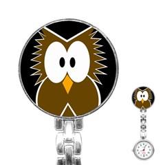 Brown simple owl Stainless Steel Nurses Watch