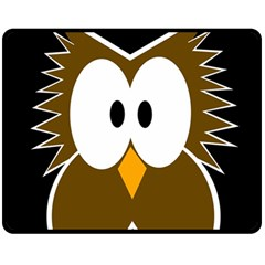 Brown simple owl Double Sided Fleece Blanket (Medium)