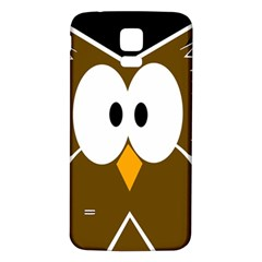 Brown simple owl Samsung Galaxy S5 Back Case (White)