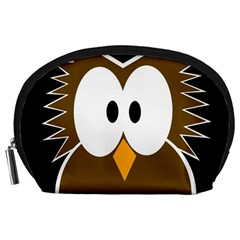 Brown simple owl Accessory Pouches (Large)