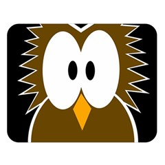 Brown simple owl Double Sided Flano Blanket (Large)