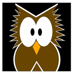 Brown simple owl Large Satin Scarf (Square)