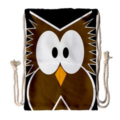 Brown simple owl Drawstring Bag (Large)