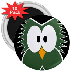 Green owl 3  Magnets (10 pack)