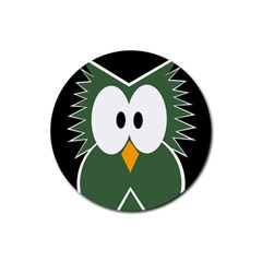 Green owl Rubber Round Coaster (4 pack)