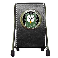 Green owl Pen Holder Desk Clocks